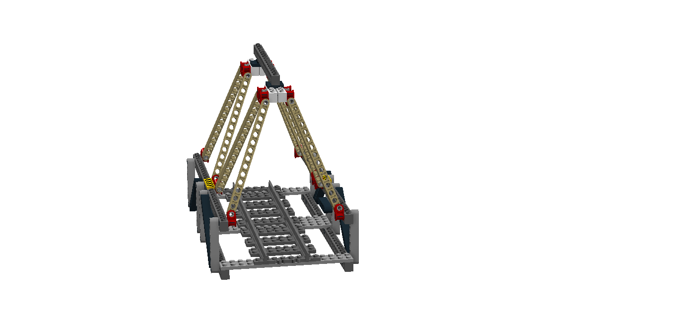 Triangular Warren truss bridge: front view.